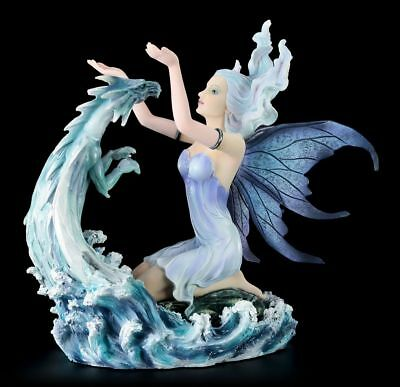 Elves Figurine - Caerula with Water Dragon - dragon Decor Statue Fantasy