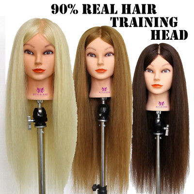 "AU 28"" 90% Real Hair Hairdressing Training Head Practice Mannequin Doll + Clamp"
