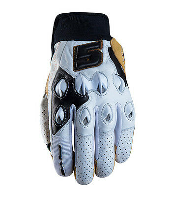 FIVE brand STUNT Leather Motorcycle Gloves - White / Tan Road Street