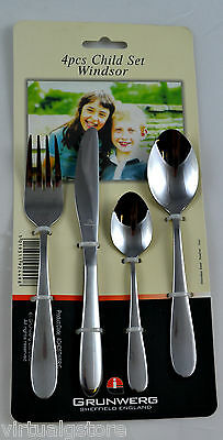 2 x Grunwerg Windsor Stainless Steel 4 Piece Childrens / Kids Cutlery Sets