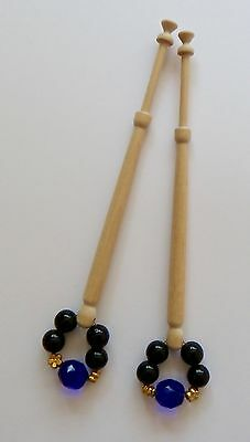 2 Lace Bobbins in light wood with spangles -  set A5