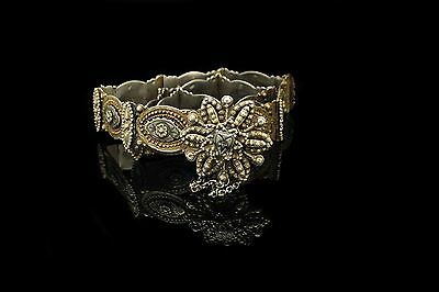 Antique Original Perfect Silver Ottoman Amazing Niello Decorated Belt