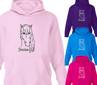 Girls Personalised Horse Riding Hoodie Childrens Pony Equestrian Hoody Gift