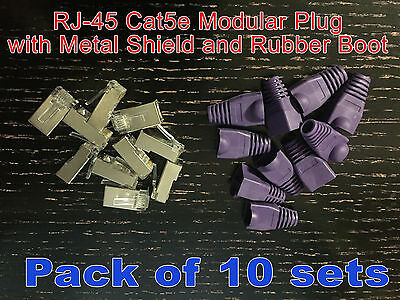 RJ45 RJ-45 Network CAT5E Modular Plug Connector with Metal Shield + Rubber Boot