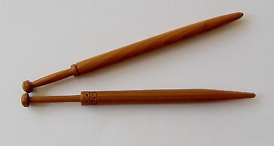 2 Honiton Lace Bobbins in polished wood  -  set A30