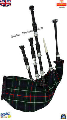 Great Highland Bagpipe Rosewood Mckenzie Tartan And Cord Metal Silver Mounts