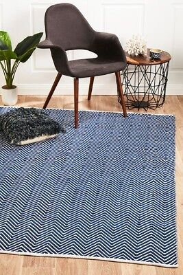 SPARK CHEVRON NAVY BLUE RUG White Cotton Floor Rug FREE DELIVERY*