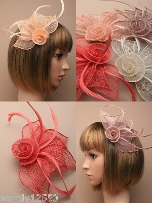 Pack Of 4 Coloured Hessian Rose Fascinators On Clip / Brooch Pin : Sp-4316 Pk4
