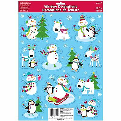 Amscan Joyful Snowman Vinyl Window Decorations