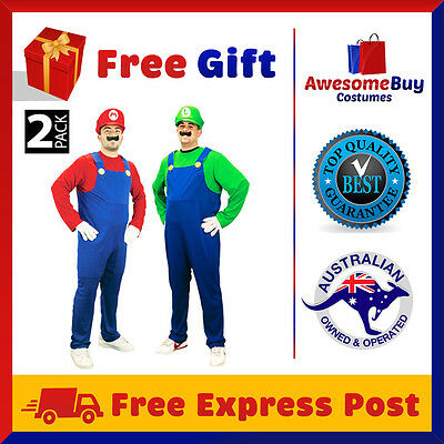2 Pack Super Mario and Luigi Brothers Halloween Costume Fancy Dress Up Party