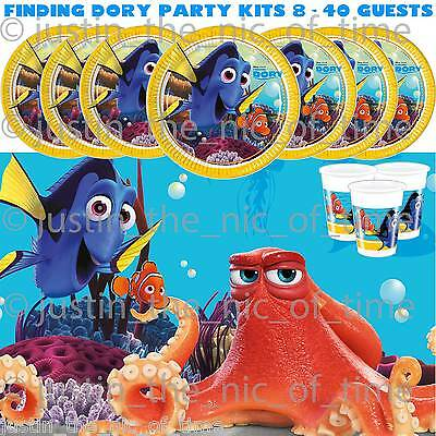 FINDING DORY Boys Girls Tableware Plates Cups Napkins PARTY KITS 8 - 40 Guests