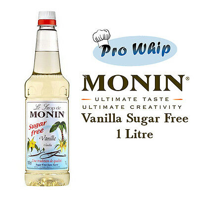 Monin Coffee Syrup VANILLA SUGAR FREE 1 Litre Bottles - AS USED BY COSTA COFFEE