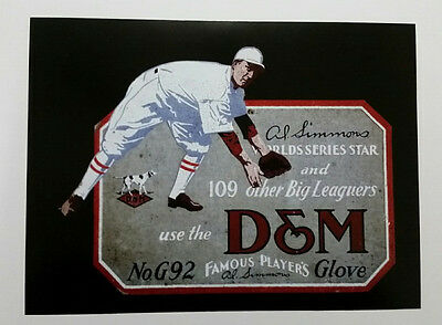 """D&M Al Simmons Glove No. G92 Trolley-Size Ad Piece (Reproduction) 11"""" x 14 5/8"""""""