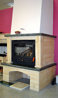 Wood Burning Inset Insert 18 kW with an Air Jacket and Fan Fireplace Log Burner