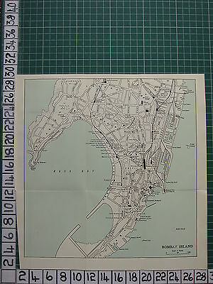 1959 India/pakistan Tourist Map ~ Bombay Island City Plan Staion Fort George