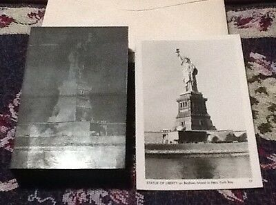 Antique Metal plate photo negative and Post Card of Statue of Liberty,