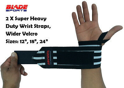 Super heavy duty wrist wraps weight lifting body building power training straps