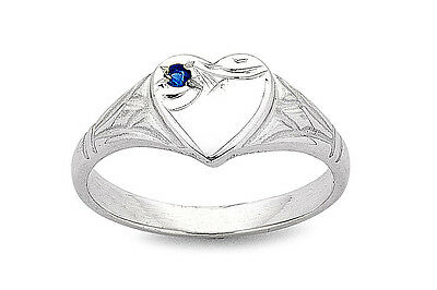 Sterling Silver Childrens Heart Signet Ring