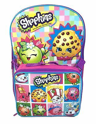 "Shopkins 16"" Large Backpack w/ Detachable School Lunch Bag"