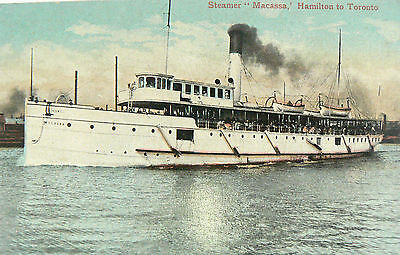 Vintage Postcard-The Steamer Macassa.launched 1888.hamilton To Toronto