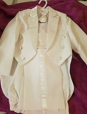 New Toddler Tuxedo, White, Pink Waistband, Pink Bow Tie, Size 4T