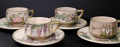 Meiji Satsuma Set of Four Cups and Saucers - Set A