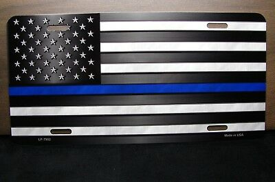 Thin Blue Line Police SWAT Wholesale Metal Novelty License Plate Wall Decor