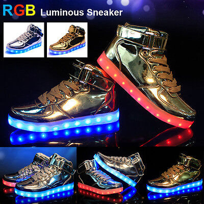 High Top LED RGB Light Up Young Casual Couple Luminous Sneaker Party Dance Shoes