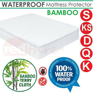 Waterproof Fitted Mattress Protector Bamboo Terry Cover Underlay Bed Sizes Anti-