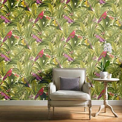 Grandeco Botanical Trees Leaves Pattern Wallpaper Birds Parrot Textured Motif