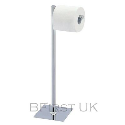 Chrome Free Floor Standing Toilet Papper Roll Holder & Storage Stand Bathroom