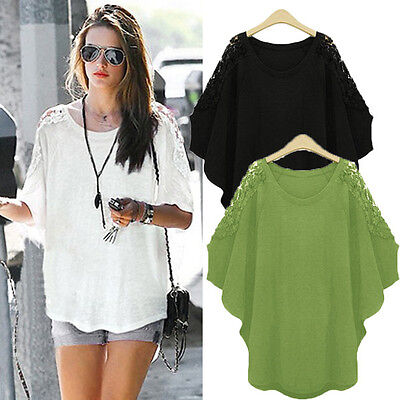 Women Lady Casual Loose Batwing Sleeve Lace Top Crew Neck Shirt Blouse 8-26