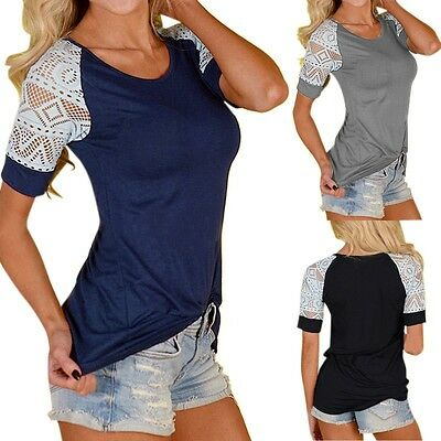 Size 8-26 Women's Loose Summer Tops Lace Short Sleeve T Shirt Casual Blouse Tee