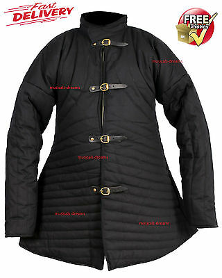 Gambeson Medievel Double Padded Thick Black Color A Shape Full Sleeves Jacket