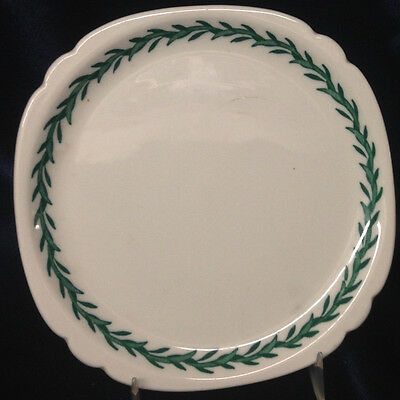 "Walker China Garland Bedford Ohio 7"" Square Plate Green Grass Laurel Rope On Rim"