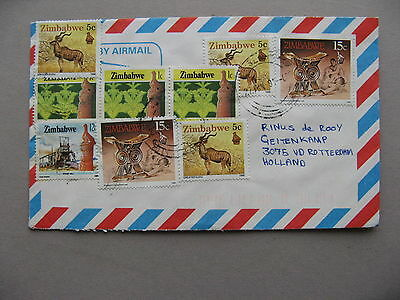 ZIMBABWE, cover to the Netherlands 1991, rich franking