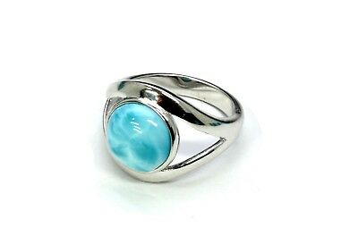 Larimar 100% Natural Blue Dominican Gem .925 Sterling Silver Ring. Select Size.
