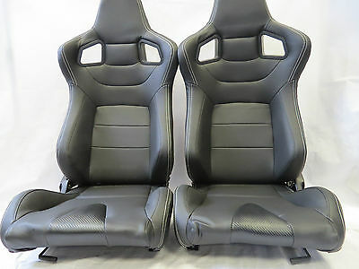 Pair of Black PU Leather Reclining Sport Seats / Racing Seats / Bucket Seats