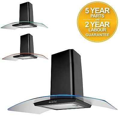 SIA 90cm Multi Colour LED Curved Glass Black Cooker Hood Extractor Fan