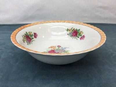 Hand Painted Flowers Floral Boutique Iridescent Gold Trim Bowl Dish Vintage