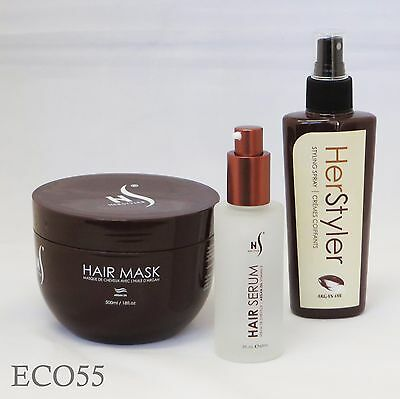 Lot of Brand New Herstyler Hair Spray, Hair Mask and Serum with Argan Oil