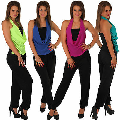 Volant Overall Jumpsuit Einteiler Stretch Hosen Anzug Party Sommer Catsuit lang
