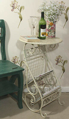Country Shabby Chic Free Standing Metal Magazine Newspaper Holder Table Cream