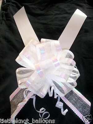 6m SATEEN WEDDING CAR RIBBON & 3 LARGE 50MM ORGANZA PULL BOW WHITE