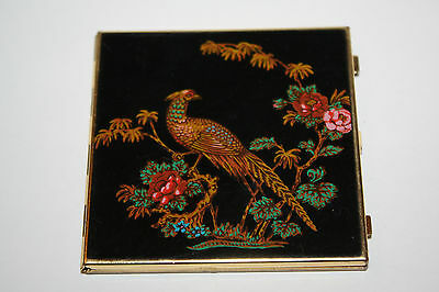 Stratton England Mini Mirror Royal Blue Enamel with Pheasant