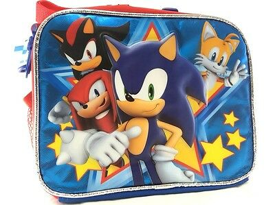 New Sega Sonic the Hedgehog Canvas Insulated Lunch Bag-Blue