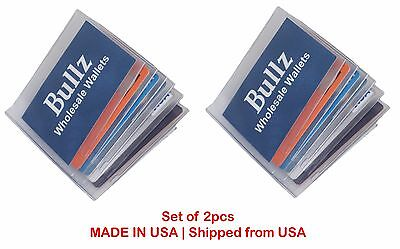 Set of 2 Heavy Duty Vinyl 6 Pages Hipster Mens Wallet Insert MADE IN USA