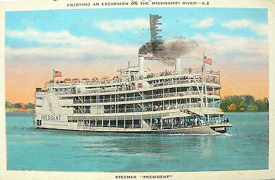 Vintage Postcard.paddle Steamer The President On The Mississippi.linen Style Crd