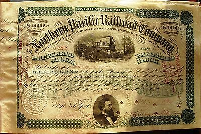Northern Pacific Railroad Comp. Stock Certificate 1887 or 1890  green color