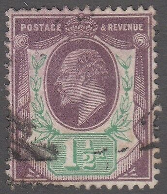"Great Britain SG #221  1 1/2d  purple and green  ""KE VII""   VF"